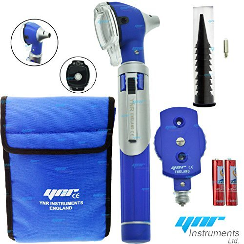 YNR ® Compact Blue F.O Opthalmoscope,ophthalmoscope,Otoscope ENT Diagnostic Set.LED,CE