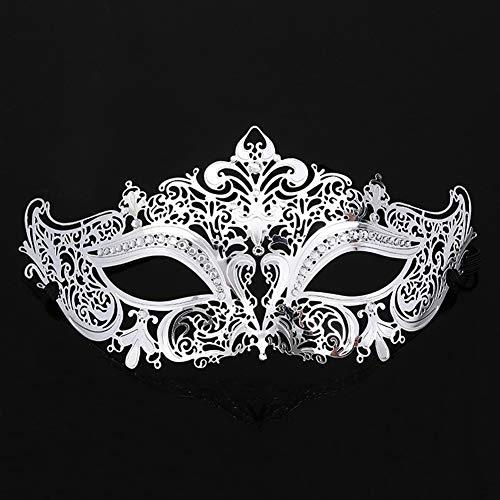 XAOBNIU Metal Mask Masquerade Prinzessin Half Face weibliche COS Party Maske (Farbe : Silber)