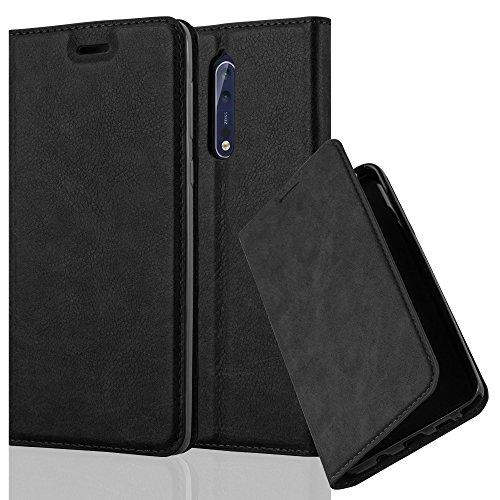 Cadorabo Hülle für Nokia 8-2017 - Hülle in Nacht SCHWARZ - Handyhülle mit Magnetverschluss, Standfunktion & Kartenfach - Case Cover Schutzhülle Etui Tasche Book Klapp Style