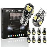 10PCS T10 LED Ampoules de Voiture Lampe W5W 8 SMD 5630 LED, MODOCA 194 168 2825 Avec Remplacement pour Lampes pour Plaque D'immatriculation, Back Up Eclairage Inversé 12V, Blanc