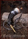Pulverhorn mit Absperrhahn aus Messing und Lederband - Reenactment