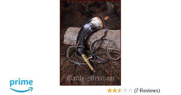 Battle-Merchant Pulverhorn mit Absperrhahn aus Messing und Lederband Reenactment