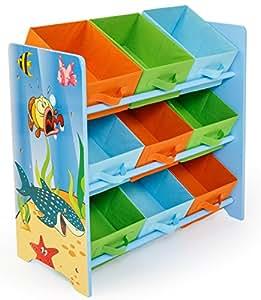Meuble de rangement pour enfant avec 9 Bac de stockage motif poissons, H13 x L19 x P24 cm -PEGANE-