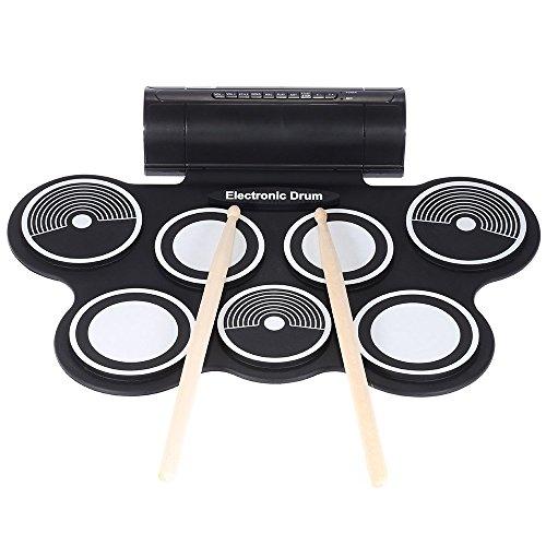 ammoon Silicona Plegable Portátil Tambor Electrónica Cojín del kit Digital USB MIDI del Roll-up...