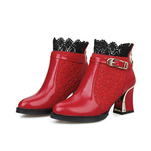 AllhqFashion Damen Spitz Zehe Mittler Absatz Blend-Materialien Niedrig-Spitze Stiefel Rot
