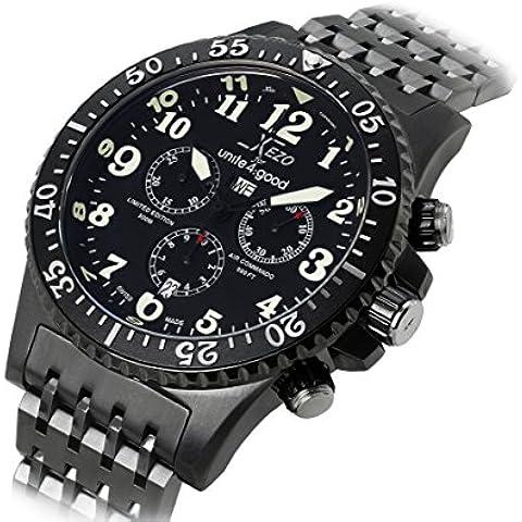 Xezo Air Commando Divers Pilots para Unite4:good - Reloj cronógrafo suizo de hombre en edición limitada de lujo con acabado bronce, 30 ATM y segundo huso horario