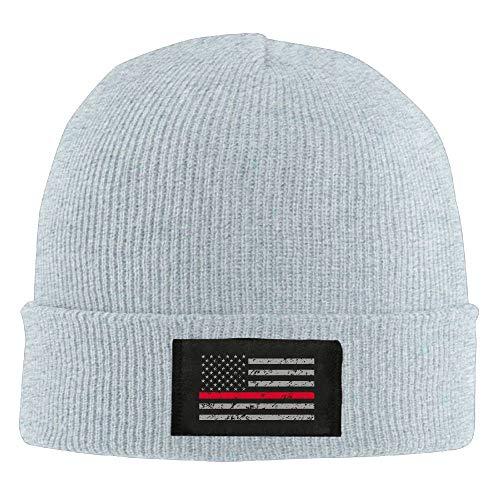 fjfjfdjk Adult Thin Red Line American Flag Warm Acrylic Knit Beanie Hat Skull Cap Acrylic Knit Beanie Cap