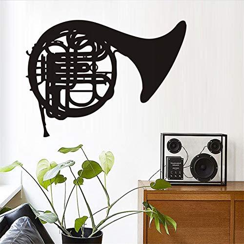 Cartoon Musik Wandaufkleber Hinweis Posaune Musikinstrument Wandaufkleber Schlafzimmer Abnehmbare Musik Wandtattoo Musik Zimmer Vinyl80 * 58 Cm