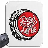 """Mousepad alfombrilla de ratón """"Personalizadas Posavasos ROAD RACE de carreras de automovilismo de carreras de Fórmula carretera de motor de la velocidad del equipo clásico americano"""" para su portátil, ordenador portátil o PC de Internet .. (con Windows Linux, etc.) en White"""