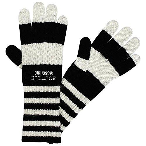 Boutique Moschino guanti a maglia con strisce, taglia unica nero bianco taglia unica