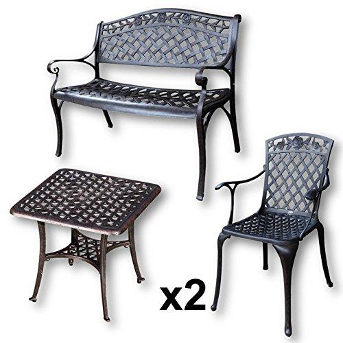 Lazy Susan - SANDRA Quadratischer Kaffeetisch mit 1 ROSE Gartenbank und 2 ROSE Stühlen - Gartenmöbel Set aus Metall, Antik Bronze