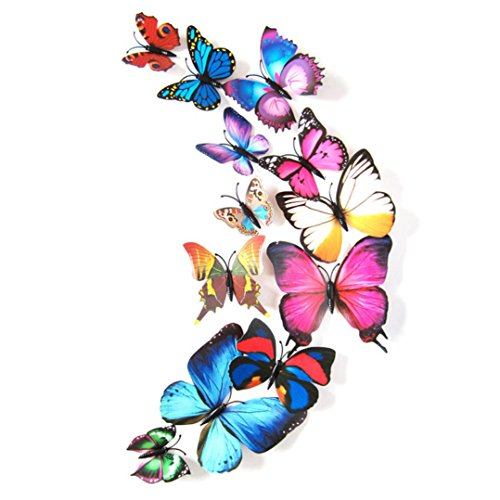 vidlan-lot-de-12autocollants-muraux-en-3d-motif-papillon-multicolore