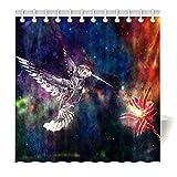 YISUMEI Hem Gewichte Vorhang Duschvorhang Mode Duschvorhänge 180x180 cm Kolibri Vögel Galaxy Blumen
