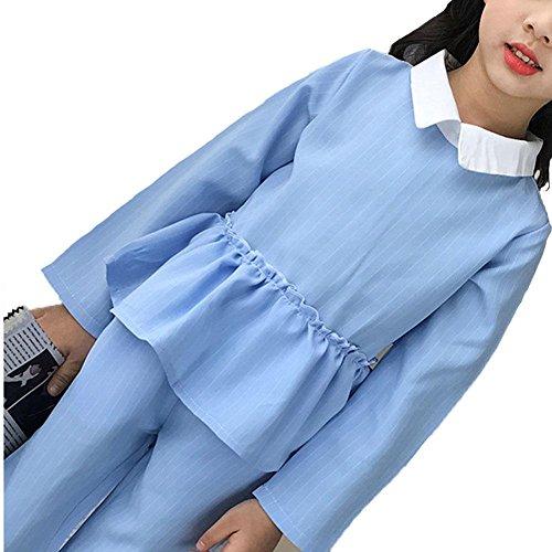 Kind Mädchen Kleidungs Set 2pcs Mode Manica Lunga Streifen Tops and Baumwolle Hose Pantaloni Freizeit Persönlichkeit Herbst ZYS , blue , 110cm