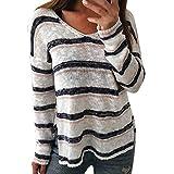 Briskorry Herbst Pullover Damen V-Ausschnitt Gestreift Strickpulli Sweatshirt Beiläufige Jumper Sweater Bluse Oberteile