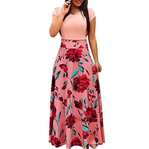 Resplend Damen Mode Lässig Kurzarm Party Maxikleid Schlankes Langes Kleid Floral Bedrucktes Strandkleid ()