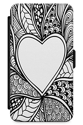 Case Warehouse iPhone 4 / 4s Schwarze Henna Heart Schutz Gummi Handyhülle TPU Bumper Zentangle Herz Liebe Henna Mehndi