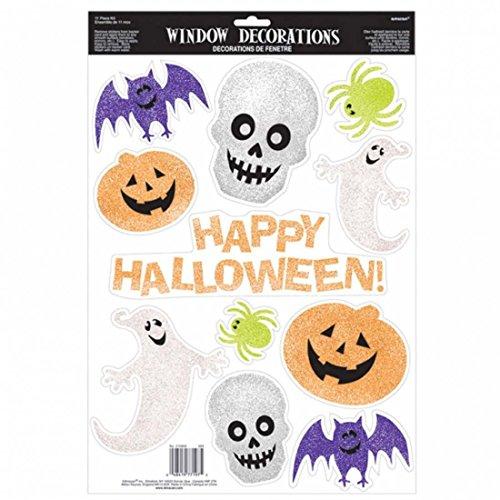 Kinder Fensterdekoration Happy Halloween Fensterdeko 45,7 x 30, 5 cm Glitter Halloweendekoration Fenster Deko Glitzer Fenster Aufkleber Halloweendeko Window Sticker (Happy Halloween Glitter)