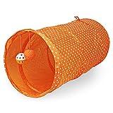 Wide.ling Katzenspielzeug Katzentunnel, Katze Spielzeug Hundenspielzeug Spieltunnel Faltbarer Spiel Tunnel für Kaninchen Hasen Katze Hunde und Kleintiere Haustier (Orange)