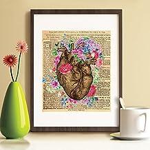 Walplus Flores Corazón Póster/decoración pegatinas de pared, multicolor