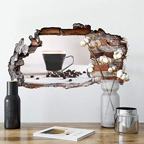 3D Wandtattoo - Kaffeepause Wandsticker Wanddekoration Wand Mauer Kaffee Kaffeebohnen Heißgetränk selbstklebend Wall-Art 120x65 cm