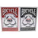 vélo WSOP de cartes plastifiées - 2 platines de taille poker index régulier rouge / noir-Bicycle WSOP Plastic Coated Playing Cards - 2 Decks Poker Size Regular Index Red/Black