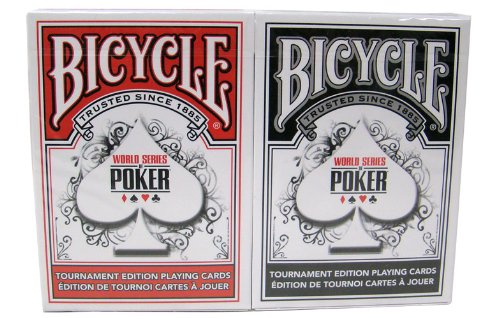Preisvergleich Produktbild Fahrrad WSOP kunststoffbeschichtet Spielkarten - 2 Decks Poker-Größe regulären Index rot / schwarz Bicycle WSOP Plastic Coated Playing Cards - 2 Decks Poker Size Regular Index Red/Black