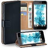 moex HTC U Play | Hülle Schwarz mit Karten-Fach 360° Book Klapp-Hülle Handytasche Kunst-Leder Handyhülle für HTC U Play Case Flip Cover Schutzhülle Tasche