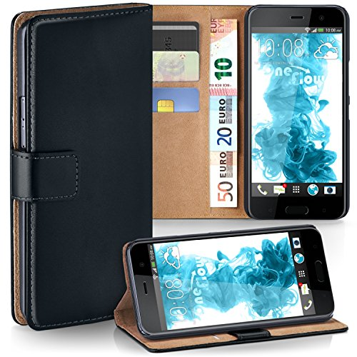 HTC U Play Hülle Schwarz mit Karten-Fach [OneFlow 360° Book Klapp-Hülle] Handytasche Kunst-Leder Handyhülle für HTC U Play Case Flip Cover Schutzhülle Tasche