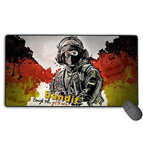 Großes Gaming-Mauspad mit aufgenähten Kanten, für Gaming-Sensoren optimierte Hochleistungs-Laptop-PC-Mausmatten, Rainbow Six Siege Bandit