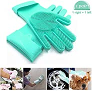 Carecroft Silicone Cleaning Reusable Heat Resistant Pair Magic Brush Gloves Scrubber for Kitchen Dishwashing D