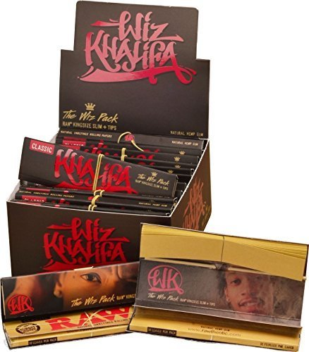 Wiz Khalifa-Wiz-Pack Connoisseur Raw King Size Slim Zigarettenpapier, Spitzen (Neuware von Raw)-Box (24 Packungen von Trendz (Size Khalifa Wiz King Papers)