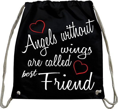 urnbeutel natur Rucksack Angels without wings are called best Friend bff gift present thanks freund freundin Beutel Tasche Schwarz (Erwachsenen-angel Wings)