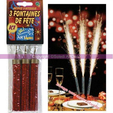 Lot de 3 Fontaines de fête C1 de 9,5 cm de long, Gerbe argentée étincellante de 25-35 cm, 30 sec
