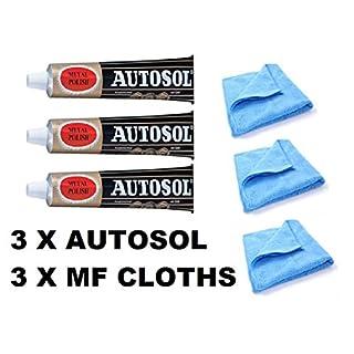 3 x 75ml Tube Solvol Autosol And 3 Microfibre Cloths - Chrome Ali & Metal Polish