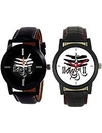 Sajavat Enterprise New Designer MAHADEV Print Dial Black Leather Belt For Boys Watch-pack Of 2