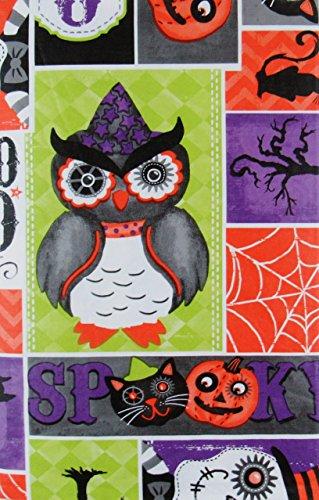 Happy Eule oween Spooky Patchwork Vinyl Tischdecke Flanell Rückseite, Vinyl, mehrfarbig, 52