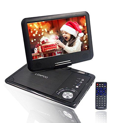 9,5'' Tragbarer DVD-Player, 2500 mAh,3-5 Stunden Akku, schwenkbaren Bildschirm, unterstützt SD-Karte und USB, mit Spiele-Joystick, Auto-Ladegerät-Schwarz