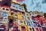 "Cuadros Lifestyle Küchen Spritzschutz ""Hundertwasser House"" | Küchenrückwand | Alu-DiBond | Fliesenschutz für Den Herd | Küche | Küchenfliesen | Fliesenspiegel | Rückwand, Größe:60 x 40 x 0,4 cm"