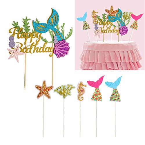 CUSFULL Tortendeko Geburtstagskuchen Meerjungfrau Cake Toppers mit Sticks für Baby Shower Kindergeburtstag Hochzeit Party Deko (6 Stück)