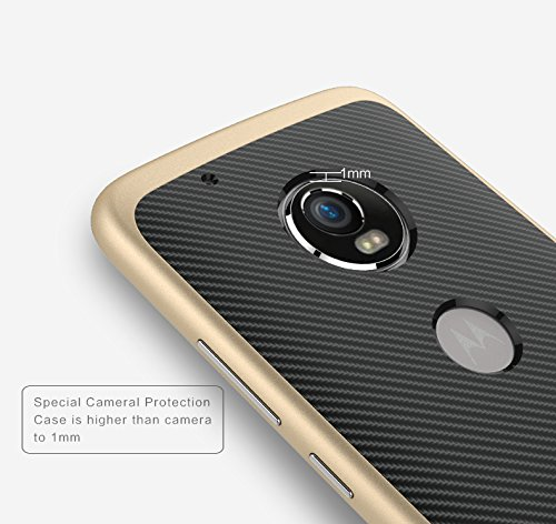 timeless design b4e79 3669e Tapfond Dual Layer Tough Armor Carbon Fibre Back Cover Case with Heavy Duty  Protection for Motorola Moto G5 Plus (Gold)