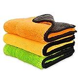 Csheng 840 GSM Auto Waschen Pflege schützen Politur Trocknen Tuch Polieren Doppelschicht Plüsch Mikrofaser Mischgarn 45 * 38cm Satz von 3 Super saugfähigen Auto Reinigung