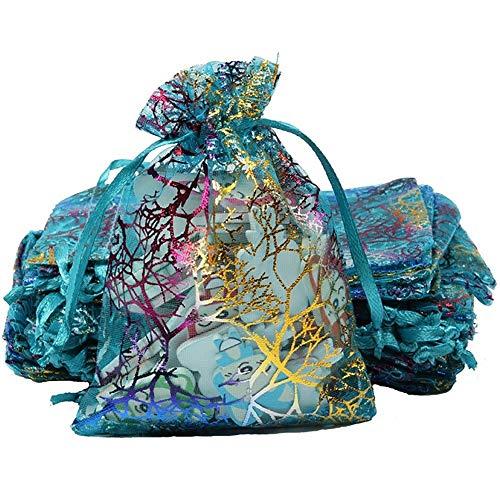 Kleidungsorganisator 100 Stücke Organza Geschenkbeutel, Coralline Blue Kordelzugbeutel Schmuckbeutel, Weihnachtssüßigkeitsbeutel Schokoladenbeutel Party Wedding Favor Gift Bag, klein 10 cm x 15 cm