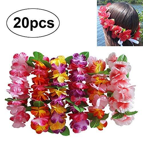 umen Leis Stirnband Haarband Girlande Kopfstück Blumenketten Dekor Zubehör für Hochzeit Parteien Halloween Kopfschmuck Hawaii Strand Partei Bachelor Party ()