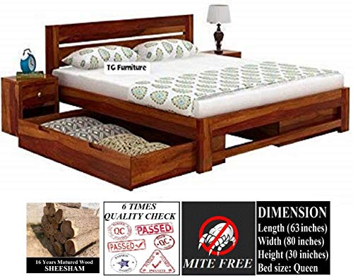 TG Furniture Solid Wood Queen Size Bed with Drawer Storage...