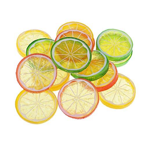 Sharplace 15 Stück Dekorative Künstliche Kunststoff Zitrone Scheibe Wohnkultur DIY Frucht - Zitrone Scheiben Künstliche