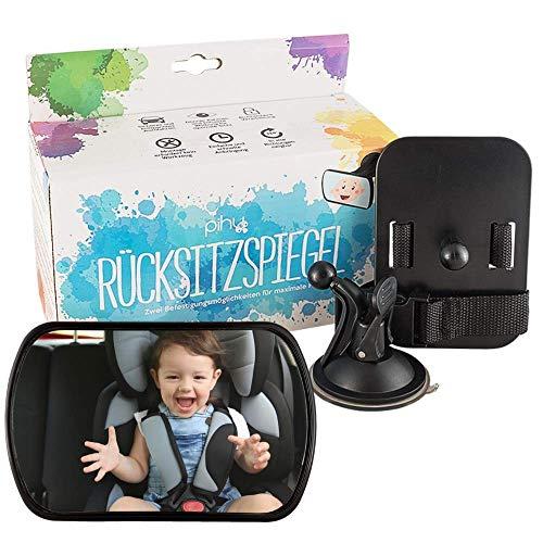 PIHU 2-in-1 Auto Rückspiegel Babys & Kinder (inkl. Saugfuß + Gurtverschluss) Optimaler Spiegel Autositz (in alle Richtungen neig- und drehbar) Bruchsicherer Rücksitzspiegel Acryl