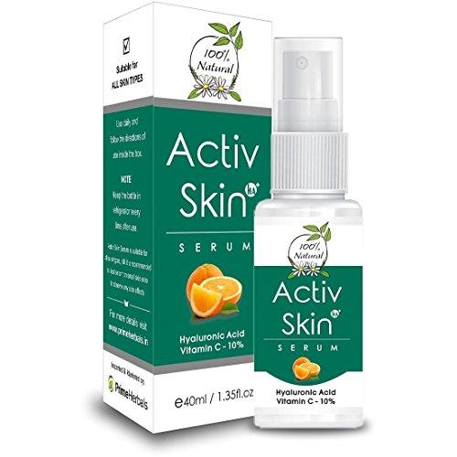 Activ Skin Serum with Hyaluronic Acid + Aloe Vera + Vitamin-C Boosting Collagen Synthesis , Prevent UV Sun Damage , Fairness, Skin Lightening, Reduce Fine Lines & Wrinkles, Removes Dark Spots, Skin To