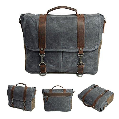 Neuleben Vintage Herren Umhängetasche 14 Zoll Laptoptasche Schultertasche Messenger Bag aus Wasserdicht Canvas und Leder (Grau) Grau