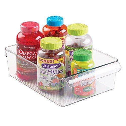 mDesign Aufbewahrungsbox Organizer für Vitamine, Medizin, Medikamente, Zahnpflegeprodukte mit Deckel - Groß, Durchsichtig